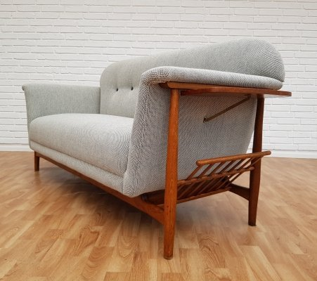 Unique Oak & Wool Danish sofa, 60s