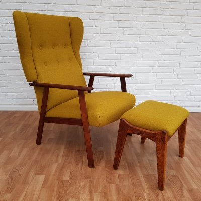 Wool & Teak Danish designed high-back armchair with footstool, 1970s