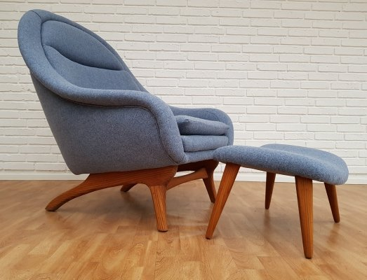 Retro lounge chair in teak & wool, 1960s