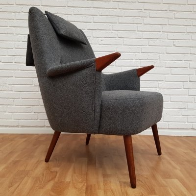 Danish design armchair with neck pillow, 1960s