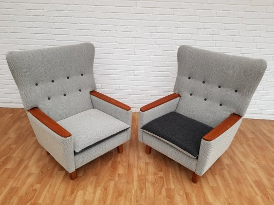Pair of Danish retro lounge chairs in teak & wool, 1970s