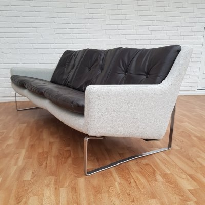 Danish midcentury sofa in leather & wool, 1970s