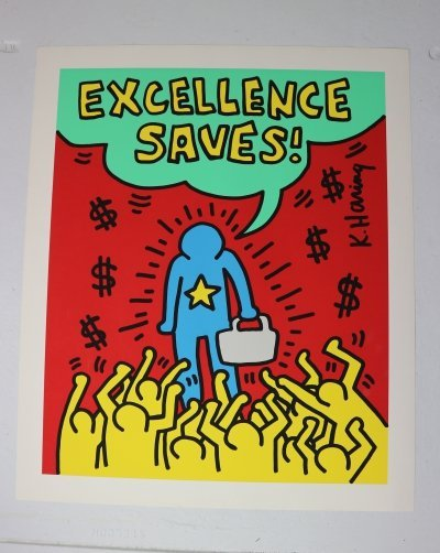 Silkscreen Poster by Keith Haring Lithograph 'Excellence Saves', 1994