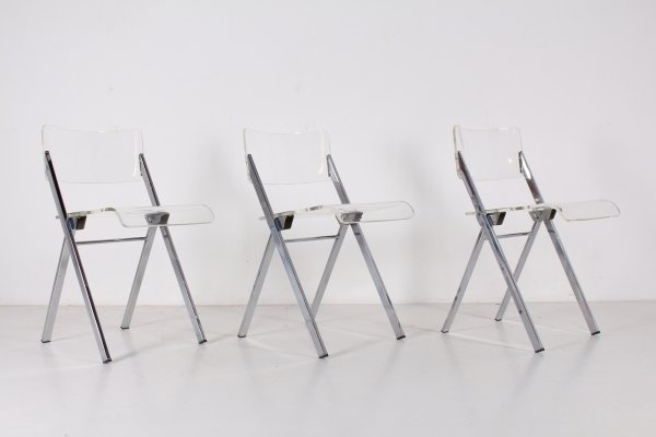 3 folding lucite chairs by Emile Souply for the Brussels Hilton hotel, 1965
