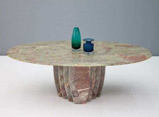 Italian Oval Marble Coffee Table, 1970s