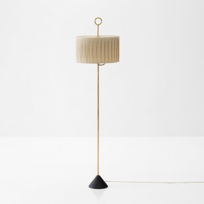 Floor Lamp by Hans-Agne Jakobsson in Brass & Fabric, Sweden 1950s