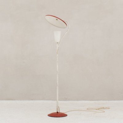 Elegantly shaped metal floor lamp in red & white, France 1950s