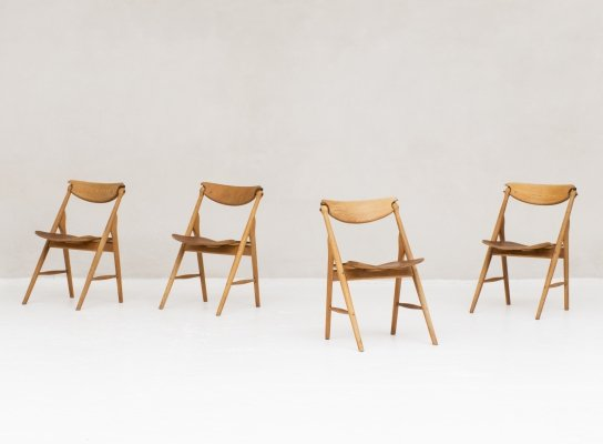 Set of 4 Foldable dining chairs with tapered legs, Denmark 1960s