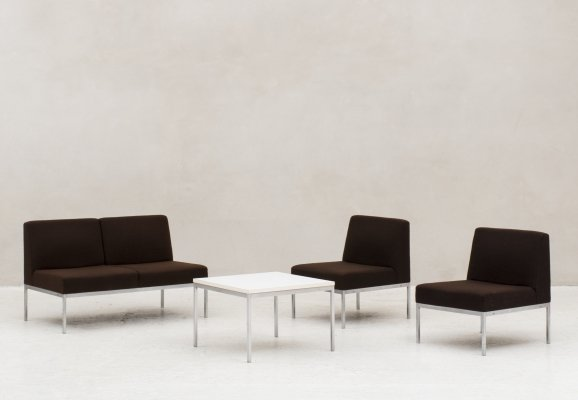 Set of two easy chairs, one 2-seater & a side table produced by Fröscher