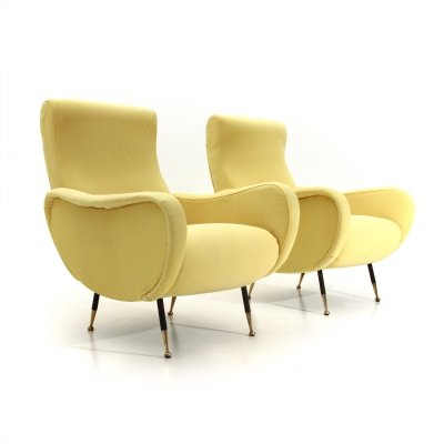 Pair of midcentury yellow Italian armchairs, 1950s