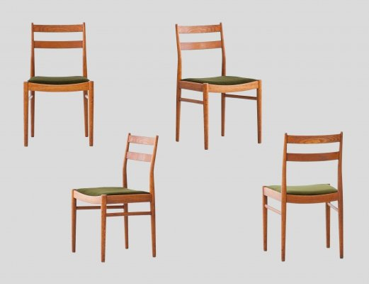Set of 4 Swedish Modern Teak & Green Moss Velvet Dining Chairs by Ulferts Sweden