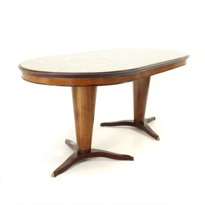 Midcentury oval Italian dining table with two legs, 1950s