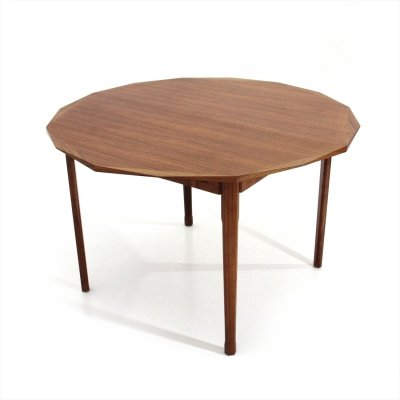Midcentury wooden round dining table by Tredici, 1960
