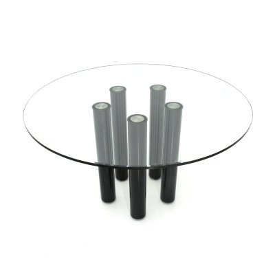 Midcentury 'Brentano' glass round dining table by Emaf Progetti for Zanotta, '80