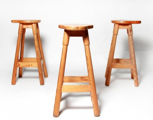 Set of Three Rainer Daumiller Pine Bar Stools