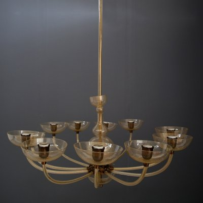 Large chandelier by Carlo Scarpa for Venini, 1930s