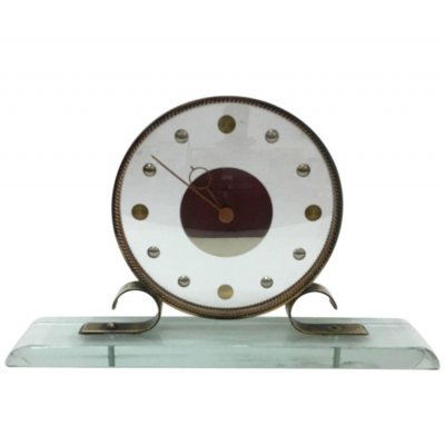 Mid-Century Modern Italian Table Clock by Latos, circa 1950