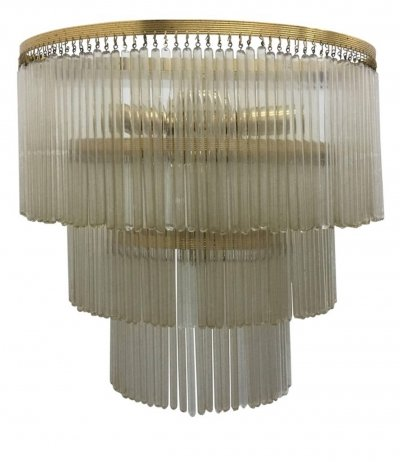 Huge Mid-Century Modern Brass & Glass Wall Sconce, Italy 1950s