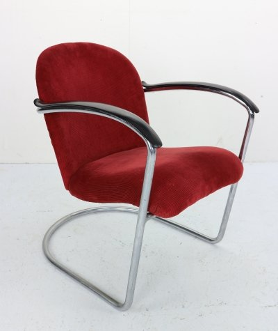 M-414 Chrome & Red Rib Fabric Armchair by W.H. Gispen, 1935
