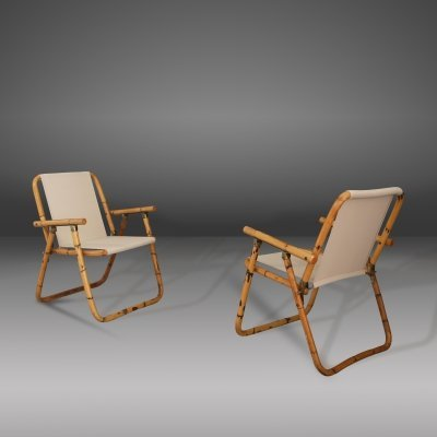 Raffaella Crespi folding chairs in Bamboo, 1950s