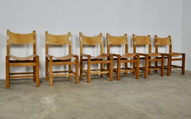 Set of 6 Elm & Leather Chairs from Maison Regain, 1960s