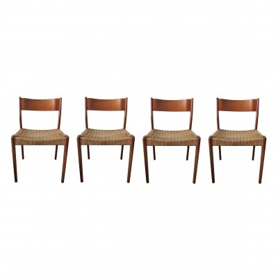 Set of 4 Mid-Century Danish Teak & Paper Cord Dining Chairs, 1960s