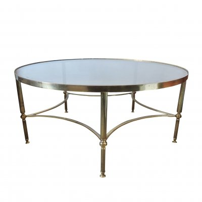 French Vintage Round Brass Coffee Table, 1950s
