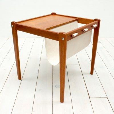 Danish Teak Side Table & Magazine Holder by Furbo, 1960s