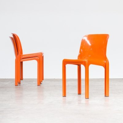 Set of 3 Vico Magistretti 'Selene' dining chairs for Artemide, 1960s