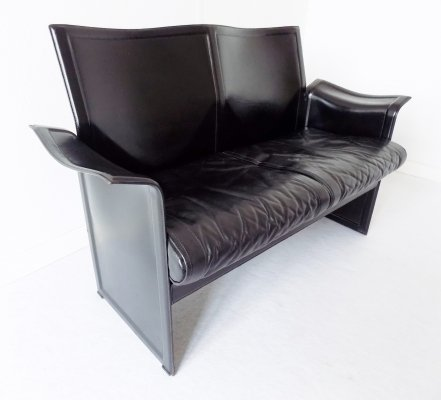 Matteo Grassi Korium 2 seater sofa in Black Leather by Tito Agnoli