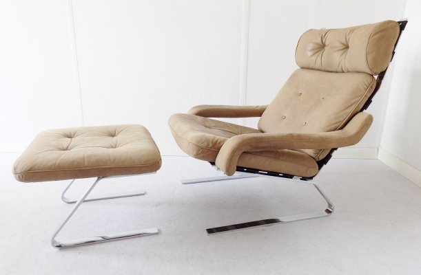Danish Swing Lounge chair with ottoman, 1960s