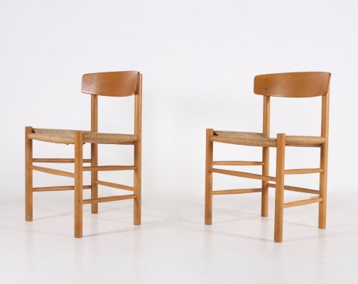 2 papercord oak chairs 'J 39' by Borge Mogensen, 1960s