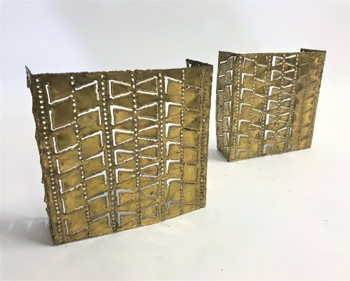 Pair of brass brutalist wall lamps, 1960s