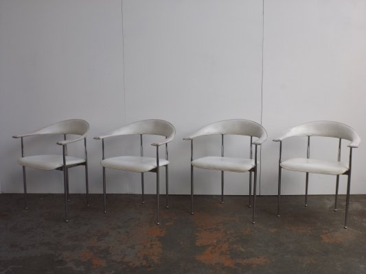 Set of 4 P40 dining chairs by Giancarlo Vegni for Fasem, 1980s