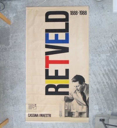 Gerrit Rietveld exhibition banner by Fair Milano for Cassina I Maestri, 1988