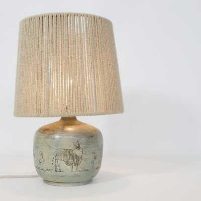 Green enameled table lamp by Jacques Blin