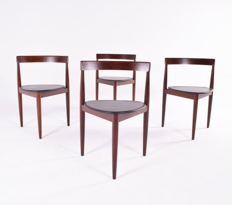 Hans Olsen Triangular Chairs Model Roundette in Teak & Leather