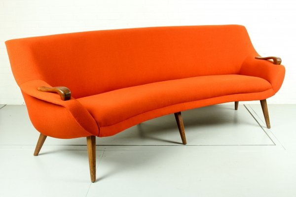 Dutch mid century curved 3-seater sofa with teak legs & armrests