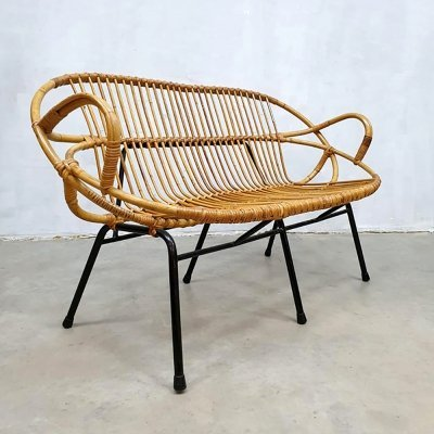 Vintage rattan bench by Rohe Noordwolde