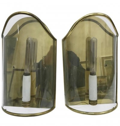 Set of Two Brass & Glass Mid-Century Modern Wall Sconces, circa 1950