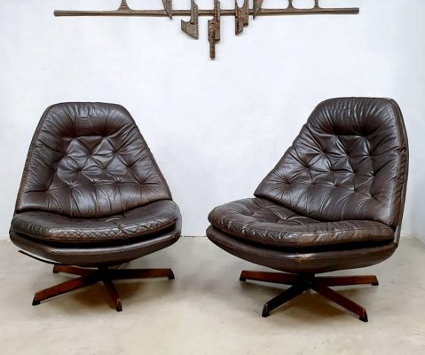 Set of 2 Danish vintage swivel chairs by Madsen & Schübell for Bovenkamp