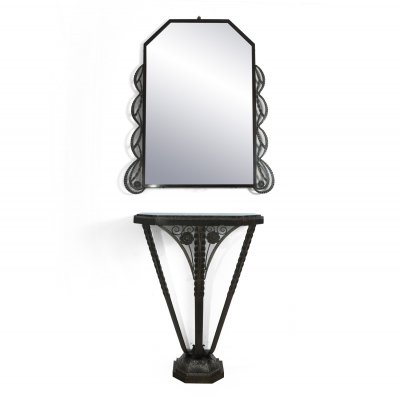 Art Deco Console & Mirror in silvered & bronzed Wrought Iron, c1930