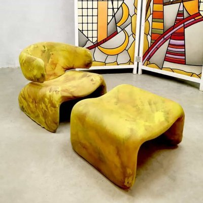 Vintage 'Djinn' Lounge armchair & ottoman by Olivier Mourgue for Airborne