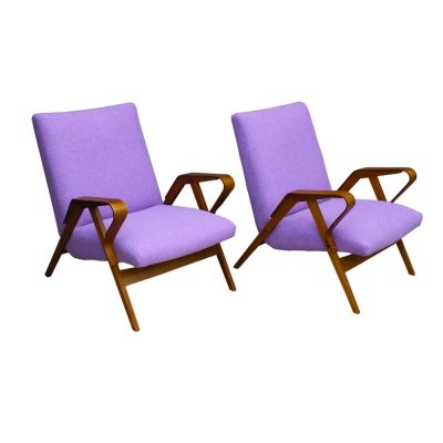Pair of Bentwood 24-23 Armchairs by František Jirák for Tatra, 1960s