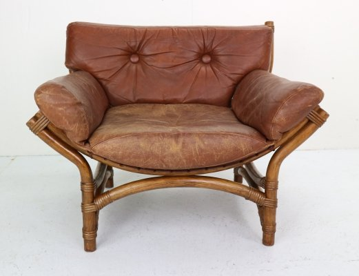 Vintage Bent Bamboo & Brown Leather Lounge Chair, Netherlands 1970s