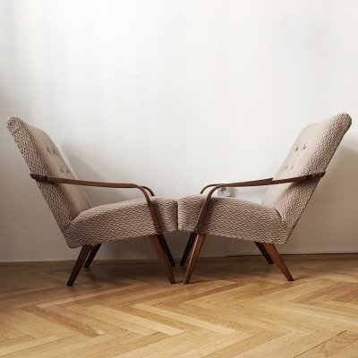 Pair of Grey/Brown Vintage Armchairs, 1960s