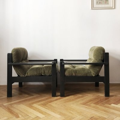 Pair of Big Grey/Brown/Black Vintage Armchairs, 1960s