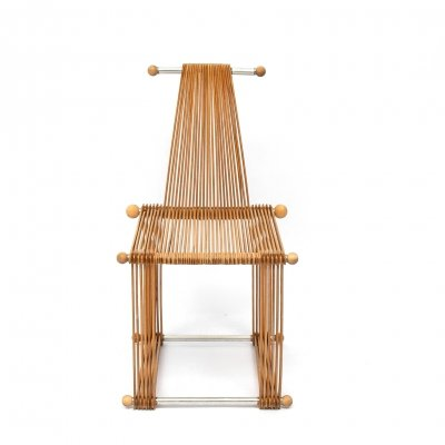 Wooden vintage slatted popstical stick design chair, prototype 1980s