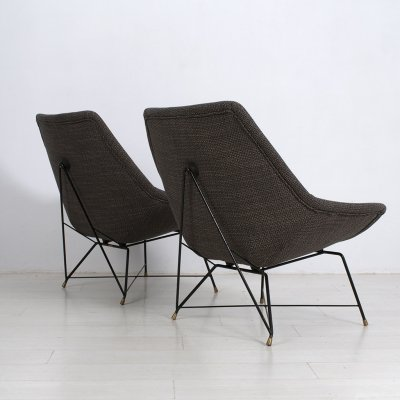 2 Kosmos lounge chairs by Augusto Bozzi for Saporiti, Italy 1956