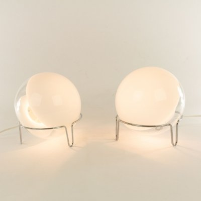 Pair of table lamps in Murano glass by Angelo Mangiarotti for Skipper, 1980s